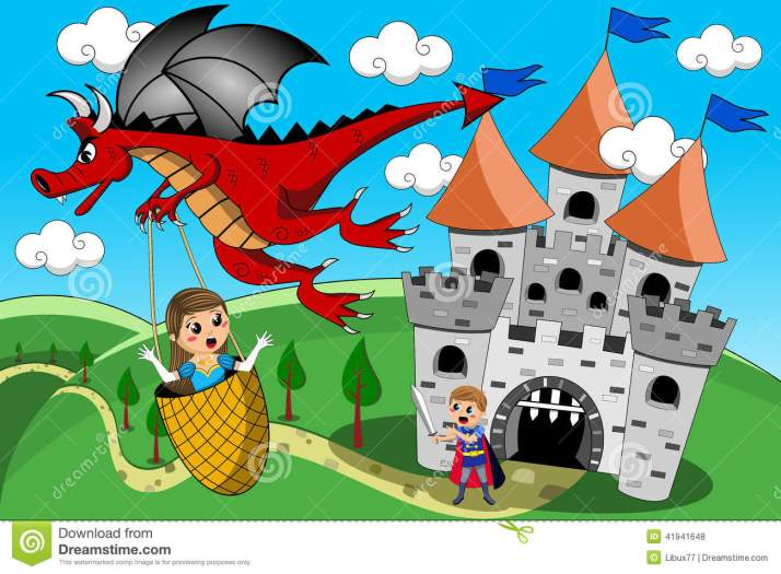 dragon-kidnapping-princess-prince-castle-tale-red-little-cute-flying-away-medieval-little-knight-try-to-stop-eps-41941648